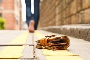 Lost wallet on sidewalk