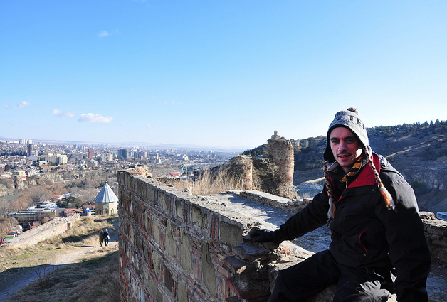 Traveler at Narikala Fortress, Tbilisi Georgia