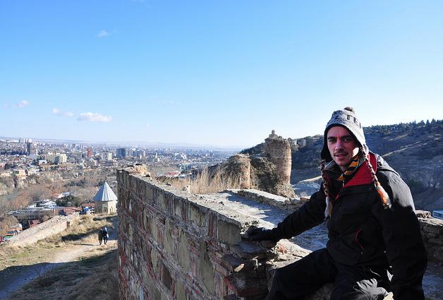 Traveler at Narikala Fortress, Tbilisi Georgia