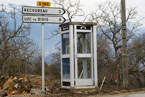Solitary pay phone in French countryside