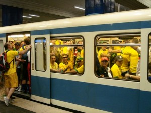 Bus crowded with Brazilian soccer fans