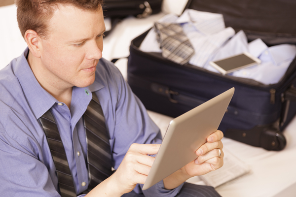 Business traveler packing