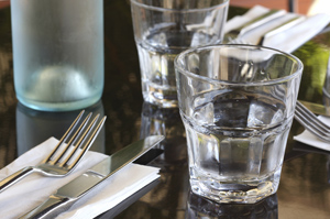 Water glasses restaurant