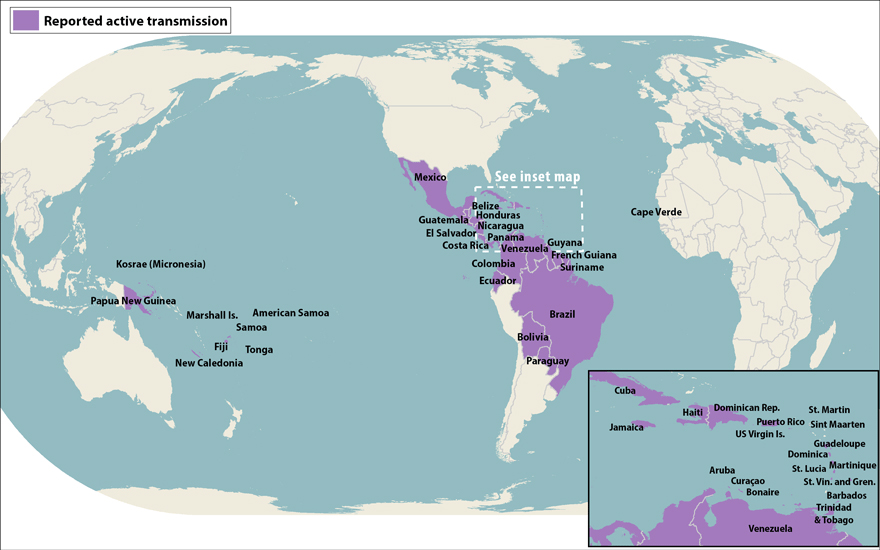 Affected Areas Zika Map
