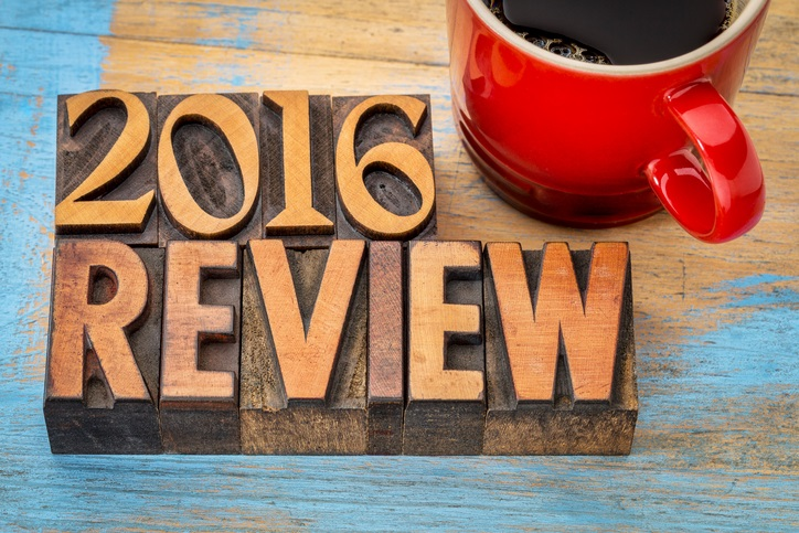 2016 review banner in wood type