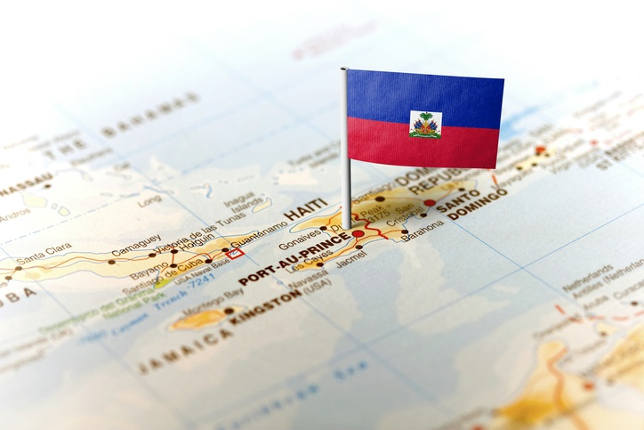 Haiti pinned on the map with flag